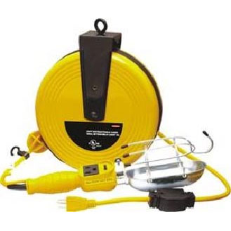 25Ft  Retractable Cord Reel W/Trouble Light UL